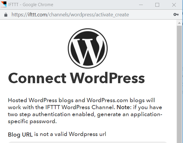 Blog URL is not a valid WordPress URL
