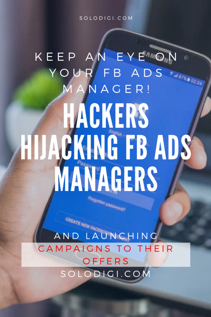 Hackers hijacking FB Ads Managers